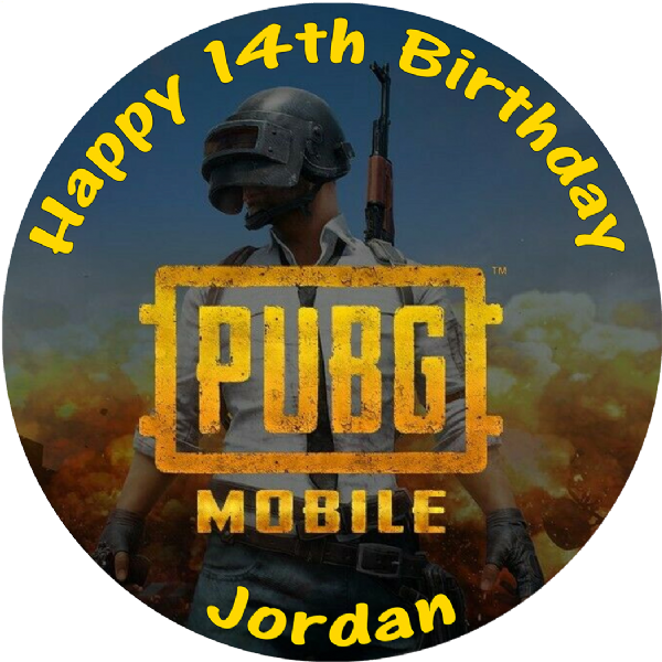 PUBG MOBILE BATTLE ROYALE PERSONALISED BIRTHDAY CAKE EDIBLE TOPPER (1)